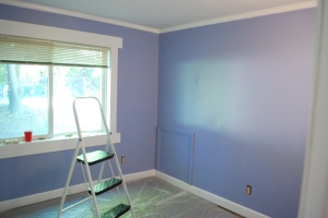 Here's the bedroom mid- paint job. I love this color! and this room! Some day I want this to be a little reading or sewing room, for now, as it is the only bedroom with heating and cooling vents, I shall sleep there
