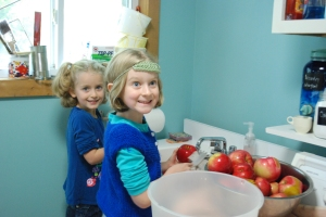 the girls took turns working the washing station (ignore the painting mess on the windowsill)