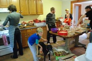 The canning set up (aka mayhem in the kitchen)